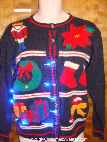 Grid of Six Fun Decorations 80s Christmas Sweater with Lights