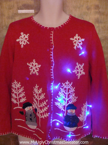Super Cute Red Light Up Ugly Xmas Sweater with Snowmen