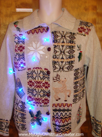 Find the Reindeer Light Up Ugly Xmas Sweater