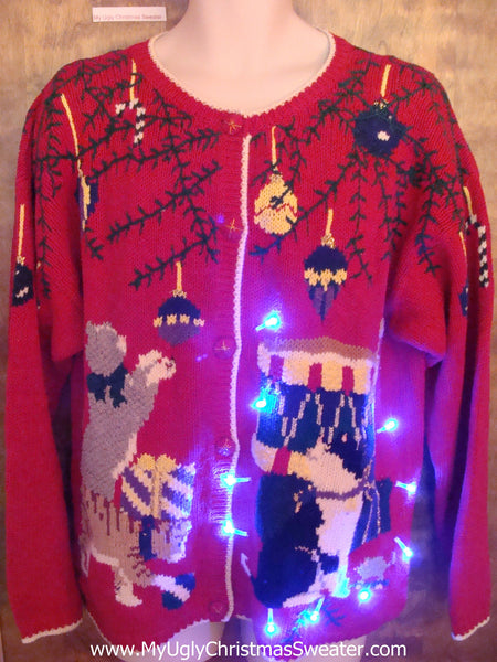 Crazy Cat Lady Gift Light Up Ugly Xmas Sweater