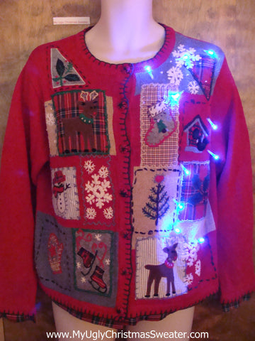 Two Sided Patchwork Light Up Ugly Xmas Sweater