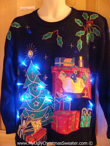 Black Christmas Sweater with Lights Bling Tree and Ivy (g205)