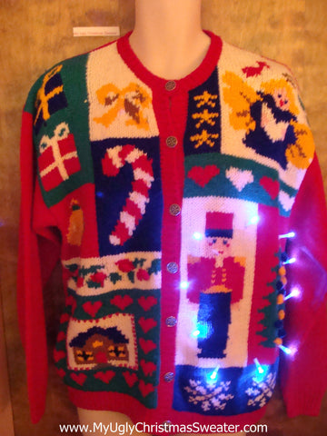 Retro Nutcracker and Candycane Light Up Ugly Xmas Sweater