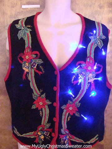 Horrible Poinsettias Light Up Ugly Xmas Sweater Vest