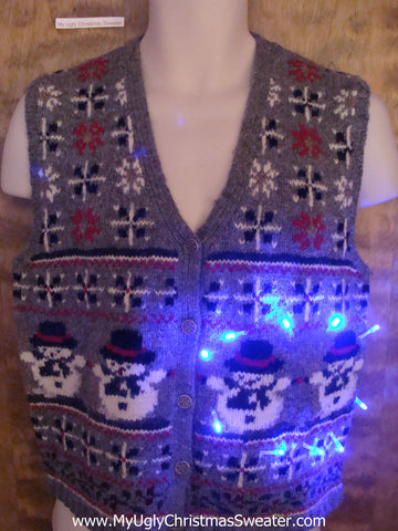 Cute as Heck 2sided Snowman Light Up Ugly Xmas Sweater Vest