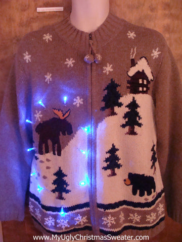 Moose and Cabin Winter Themed Light Up Ugly Xmas Sweater