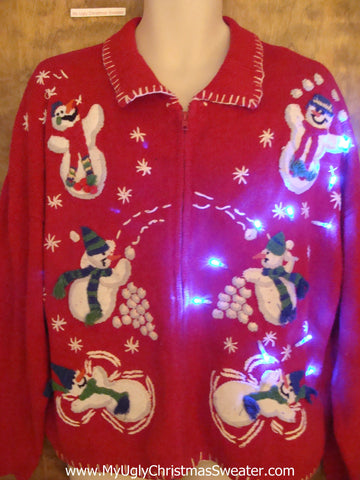 Snowball Juggling Snowmen 80s Light Up Ugly Xmas Sweater