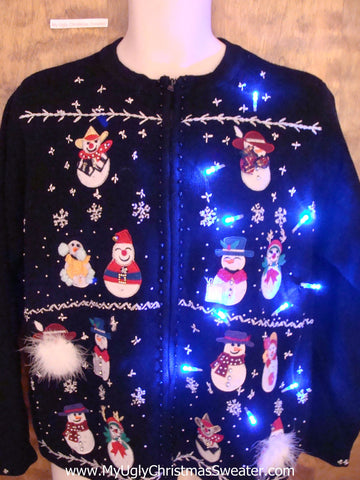 Snowman Convention Light Up Ugly Xmas Sweater