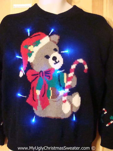 Santa Bear Black Christmas Sweater with Lights (g206)
