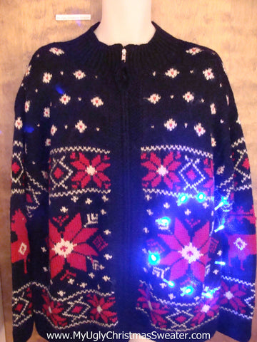 Best of the Worst Poinsettias Light Up Ugly Xmas Sweater