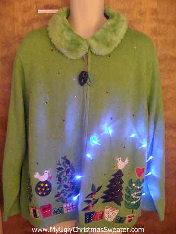 Lime Green Fluffy Collar Light Up Ugly Xmas Sweater 3XL