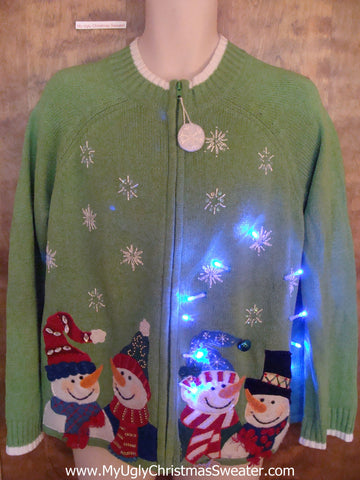 Four Snowman Friends Green Light Up Ugly Xmas Sweater