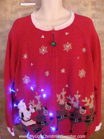 Santa and Reindeer Team 2sided Light Up Ugly Xmas Sweater