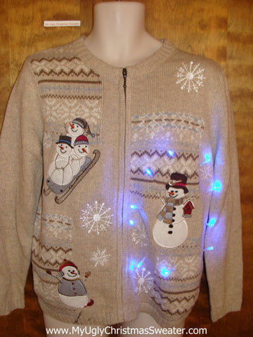Tan Light Up Ugly Xmas Sweater with Sledding Snowman