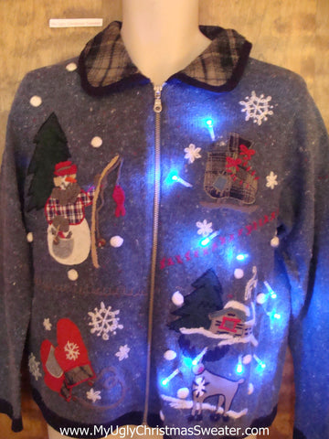 Fishing Snowman Light Up Ugly Xmas Sweater