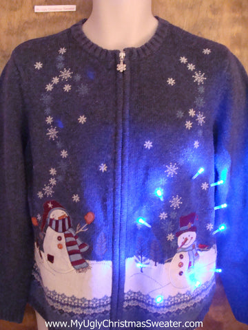 Snowmen with Bubbly Snowflakes Light Up Ugly Xmas Sweater