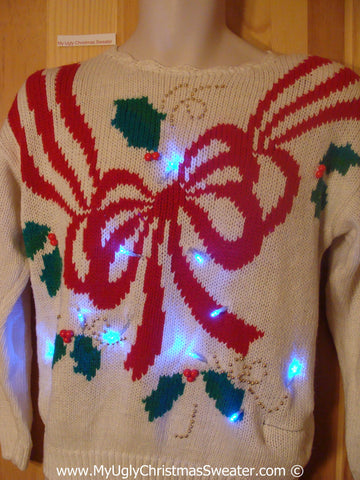 80s Christmas Sweater with Lights Huge Bow Padded Shoulders (g207)