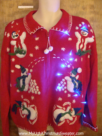 Snowfight Party Light Up Ugly Xmas Sweater