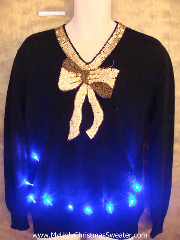 Super Cool 80s Light Up Ugly Xmas Sweater with Bling Bow