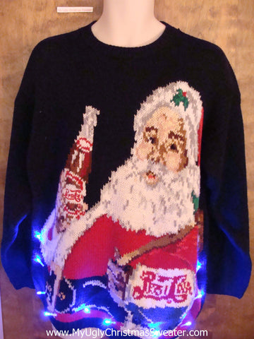 Amazing Santa and PEPSI COLA Rare Light Up Ugly Xmas Sweater