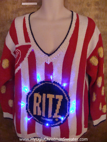 Ritz Cracker Striped Red 80s Light Up Ugly Xmas Sweater