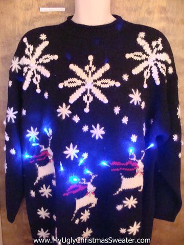 Best Leaping Reindeer 80s Light Up Ugly Xmas Sweater