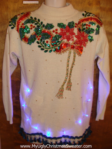 Sequin Red and Green Light Up Ugly Xmas Sweater