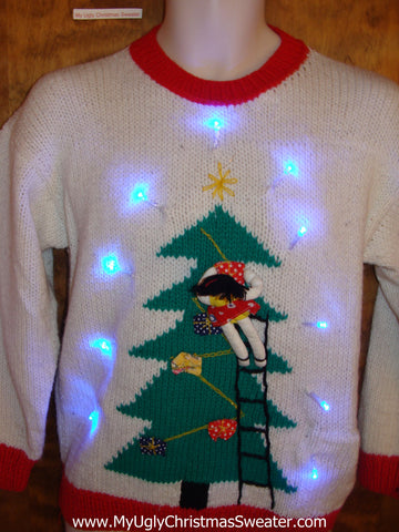 Fun 3d Person Decorating Tree Light Up Ugly Xmas Sweater