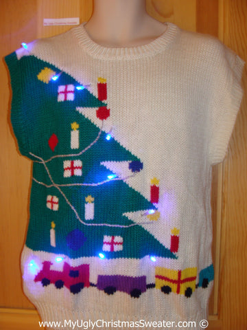 Two Sided Christmas Sweater Vest with Lights Tree and Train (g208)