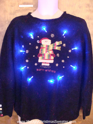 WARM WISHES Santa all Wrapped Up Ugly Xmas Sweater with Lights