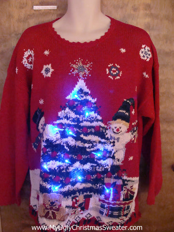 Corny Trree with Snowmen Light Up Ugly Xmas Sweater