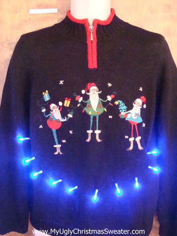 Crazy Elf Trio Light Up Ugly Xmas Sweater