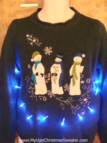 Trio of Religious Snowmen Light Up Ugly Xmas Sweater