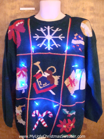 Tic Tac Toe Grid 80s Light Up Ugly Xmas Sweater