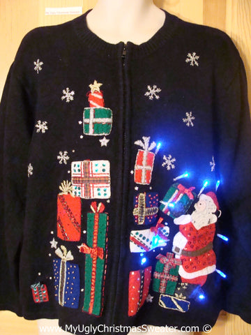 Santa and Gifts Christmas Sweater with Lights (g209)