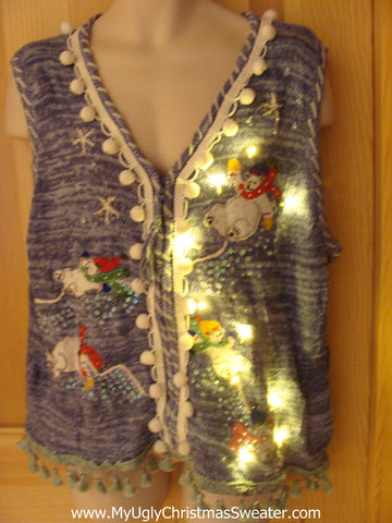 Tacky Ugly Christmas Sweater Vest with Lights and Fringe. Tumbling snowmen. (g20)