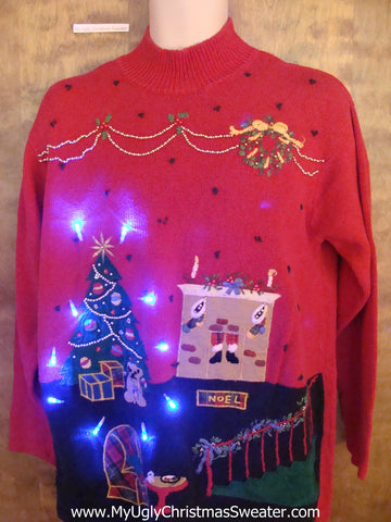 Santa in the Fireplace Light Up Ugly Xmas Sweater