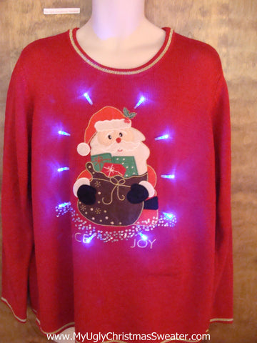 PEACE and JOY Santa Light Up Ugly Xmas Sweater