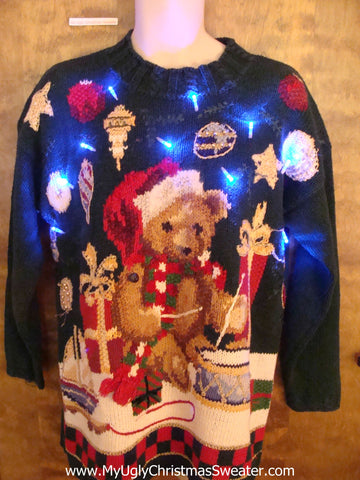 Best 80s Teddy Bear Light Up Ugly Xmas Sweater