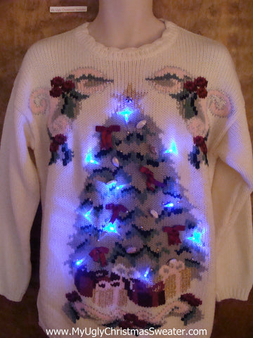Bad Ugliest Tree Light Up Ugly Xmas Sweater