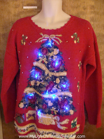 Red 80s Tree Themed Light Up Ugly Xmas Sweater