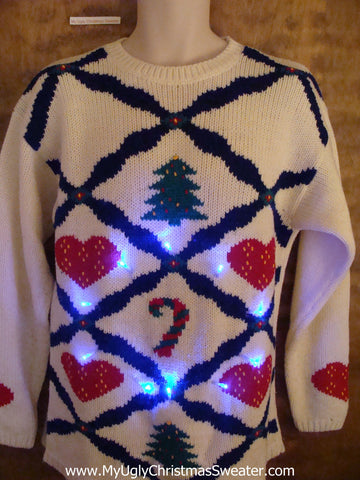 Hearts and Trees Light Up Ugly Xmas Sweater