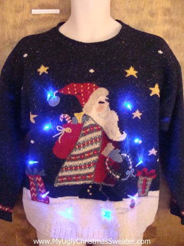 Fancy Santa with Nordic Robes Light Up Ugly Xmas Sweater