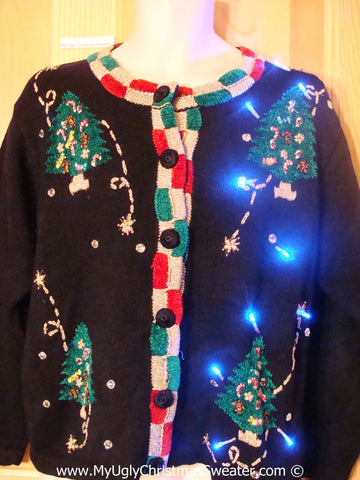 80s Christmas Sweater with Lights Trees and Padded Shoulders (g210)