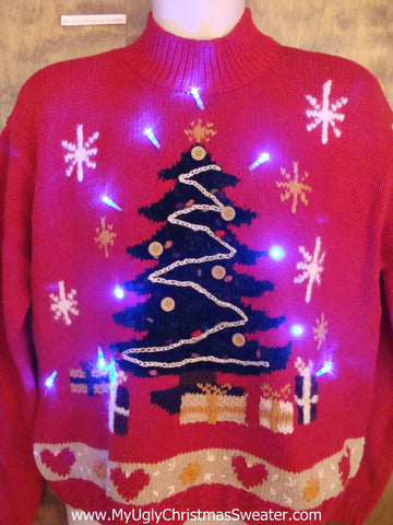 Crafty 80s Tree and Heart Themed Light Up Ugly Xmas Sweater