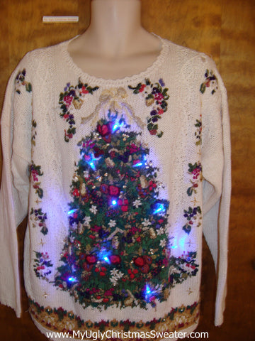 Crazy 80s Ornate Tree Light Up Ugly Xmas Sweater