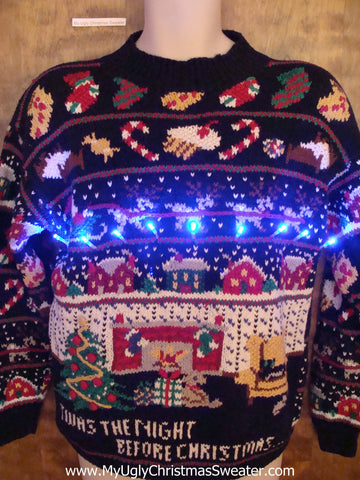 TWAS THE NIGHT 80s Light Up Ugly Xmas Sweater