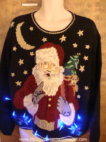 Santa Wagging His Finger Light Up Ugly Xmas Sweater