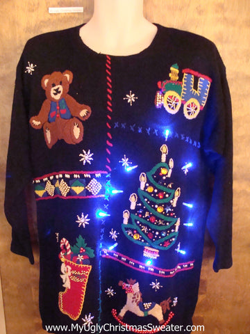 Toy Themed 80s Light Up Ugly Xmas Sweater
