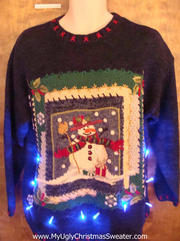Snowman in a Frame Light Up Ugly Xmas Sweater
